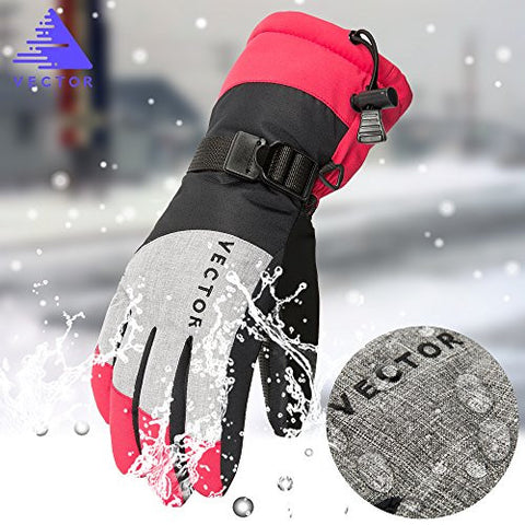 VECTOR Winter Waterproof Warm Thermal Snow Sports Snowboard Women's Ski Gloves Mitts Rose Red S Size