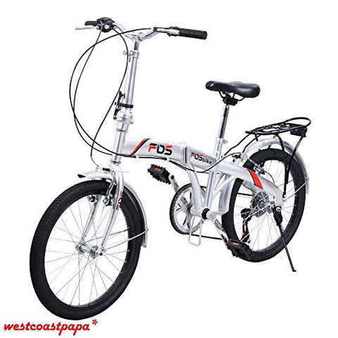 "20"" Silver School Sports Shimano Folding Bike with 6 Speed and Bicycle Storage"