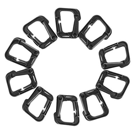10pcs Outdoor Carabiner Snap Clip Hook Holder Camping Hiking - Black