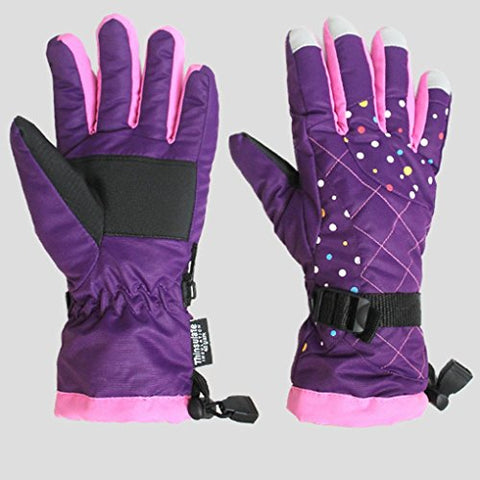 Blabroge Ladies Adjustable Winter Waterproof Thermal Gloves Outdoor Sports Skiing Gloves (Purple)