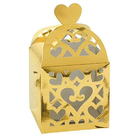 "Amscan Functional Lantern Box Wedding Party Favor Accessory, 2-1/2 x 2-1/2 x 2-1/2"", Gold"