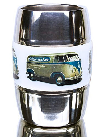 12 Ounce Camping and Travel Mug. Grip Graphic- Vintage VW Bus Olive. Double Wall Premium Stainless. No Sweat. Keeps Drinks Ice-Cold, Coffee Pipping-Hot. Fits Standard Car Holders. Easy to Clean.