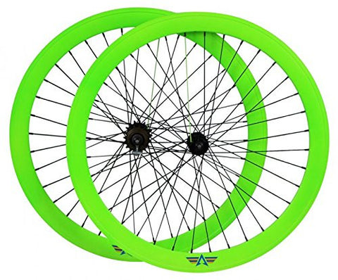 AeroFix Neon Green Glow In The Dark 50mm Wheelset with Kenda Tires