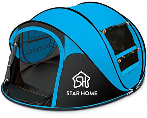 STAR HOME Camping Hiking Seconds Pop-up Instants Quick-opening Tents 3-4 Person (BLUE)