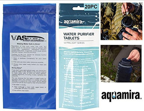 AQUAMIRA / VAS 20 PACK WATER PURFICATION TABLETS W LAMINATED VAS CARD