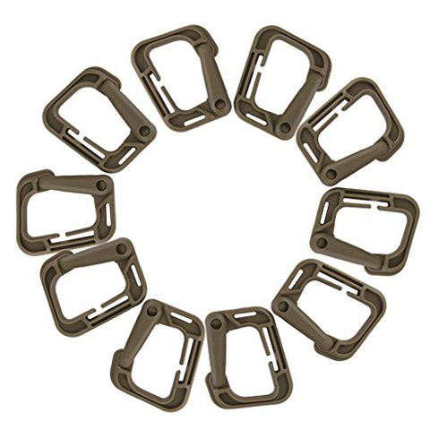10pcs Outdoor Carabiner Snap Clip Hook Holder Camping Hiking - Tan