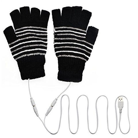 VRlinking USB Heated Half & Full Finger Winter Warm Hand Gloves Warmer Wool (Black)