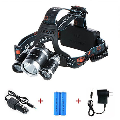 QMS 5000 Lumen 3 CREE XML T6 Headlight 18650 LED Light, Headlamps for Outdoor Sports Hiking Camping Riding Fishing Hunting