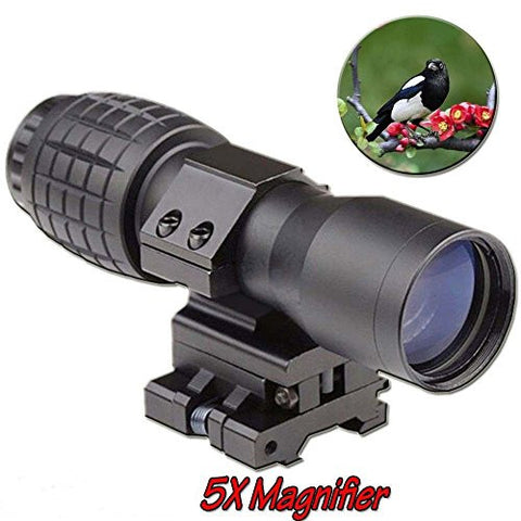 Zorvo 5X Magnifier Scopes FTS Flip To Side for Eotech Aimopint or Similar Scopes B for Watching,Hunting,Camping - Outdoor Travel Magnifier