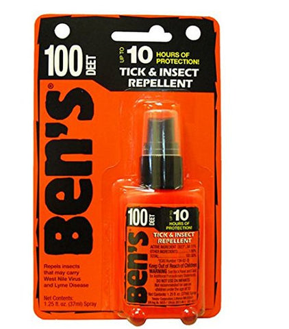 Ben's Tick and Insect Repellent, Wilderness Formula 100 Deet 1.25 fl oz,6pk