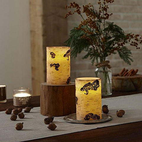 Apothecary & Company 2-Piece Flameless LED Candle Set With Timer - Birch Wood, Set The Mood With Realistic Candlelight With This 2-Piece Led Candle Set With Remote