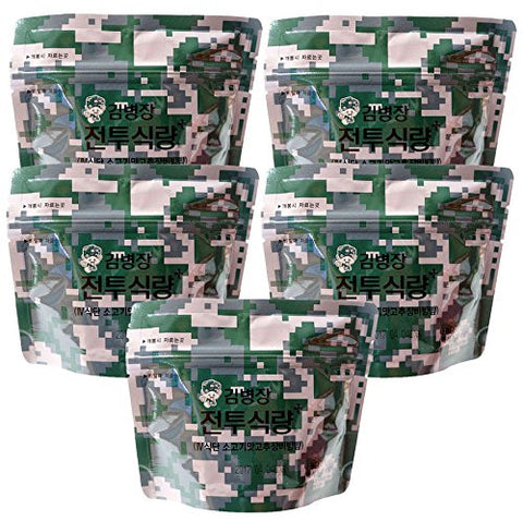(x 5 packs) Military Outdoor Leisure Emergency Rice Food Combat Ration MRE Bibimbap Beef