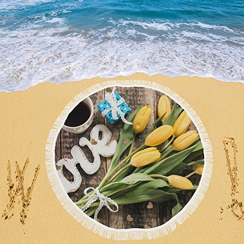 Artsadd Beach Mat, Picnic Mat, Camping Mat Coffee Mug With Yellow Tulip Flowers Circular Beach Mat 59''x 59''