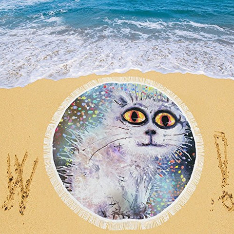 Artsadd Beach Mat, Picnic Mat, Camping Mat Cat And Colored Rain Circular Beach Mat 59''x 59''