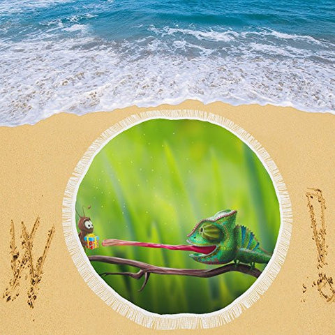 Artsadd Beach Mat, Picnic Mat, Camping Mat Bright Chameleon Reaching For Gift And Cricke Circular Beach Mat 59''x 59''