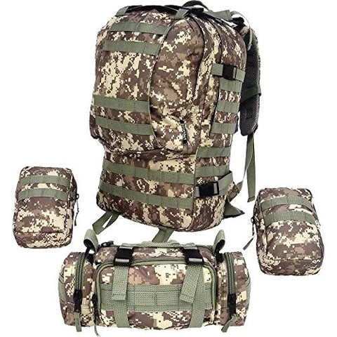 4PC Digital Camo Backpack Survival Gear Bug Out Bag Tactical Military Day Pack