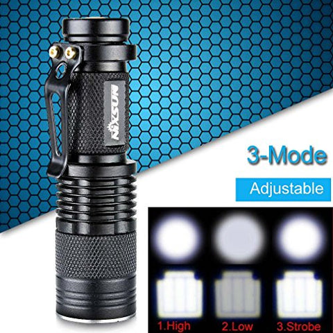 Enjoydeal Mini 3-Mode Waterproof Zoomable 600Lm CREE XPE LED Flashlight Torch Lamp Black