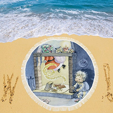 Artsadd Beach Mat, Picnic Mat, Camping Mat A Child With Mischievous Air Circular Beach Mat 59''x 59''