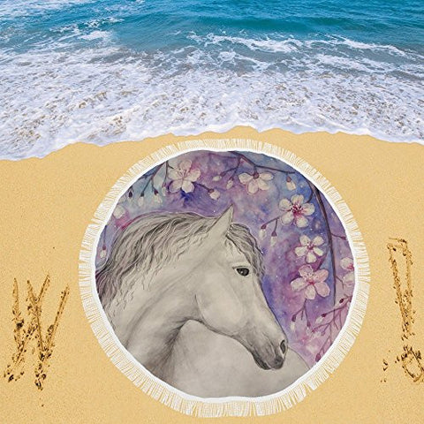 Artsadd Beach Mat, Picnic Mat, Camping Mat Beautiful Horse Under Sakura Blossom Tree Circular Beach Mat 59''x 59''