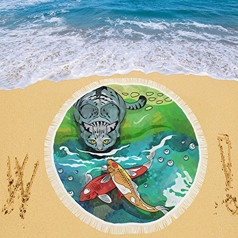 Artsadd Beach Mat, Picnic Mat, Camping Mat Colorful Cat Aquarium Fishes Circular Beach Mat 59''x 59''