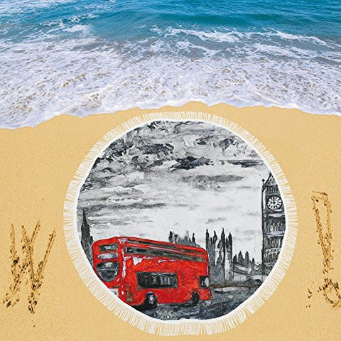Artsadd Beach Mat, Picnic Mat, Camping Mat Big Ben London Red Bus Circular Beach Mat 59''x 59''