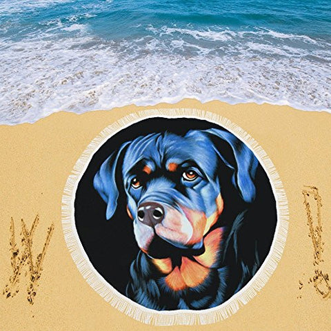 Artsadd Beach Mat, Picnic Mat, Camping Mat Big Dog With Sad Eyes Circular Beach Mat 59''x 59''