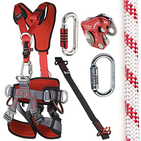 CAMP GT ANSI Fullbody Fall Arrest Kit with 150ft UL NFPA 11mm Rope Size 2 Large to XXL ANSI Certified