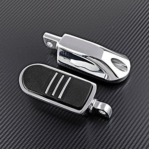 1 Pair Chrome & Rubber Streamliner Styled Foot Pegs for Harley Davidson Touring FLST FLH Road Glide Softail