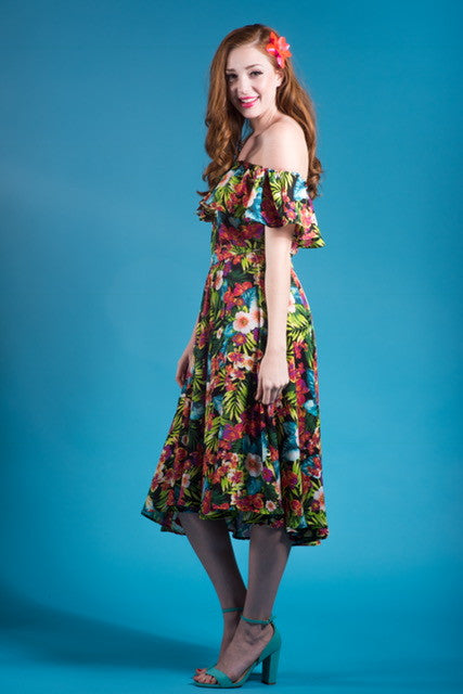 Classy & Sassy Dress in Tropical Floral Print - BEST SELLER