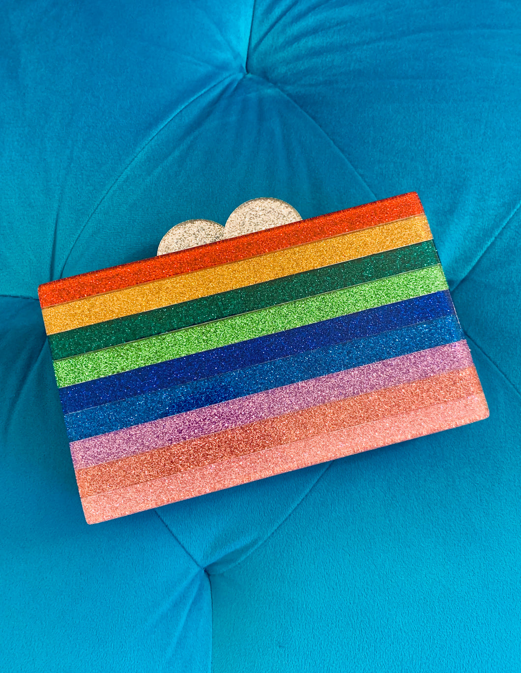 SALE - Acrylic Rainbow Glitter Clutch Purse