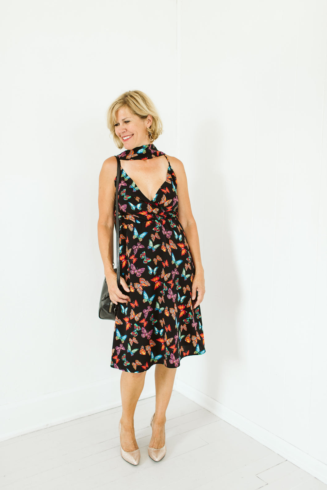 Social Butterfly Dress in Black Butterfly Print
