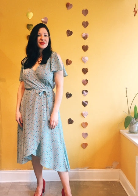 Pretty in the City Dress in Aqua Polka Dot