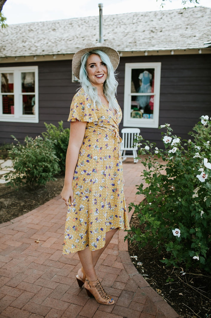 Pretty in the City Dress in Sunny Floral Polka Dot