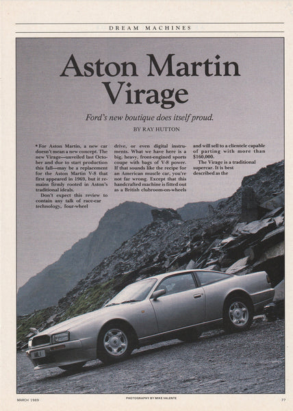 1989 Aston Martin Virage First Model Year Color Ad Ads Attic