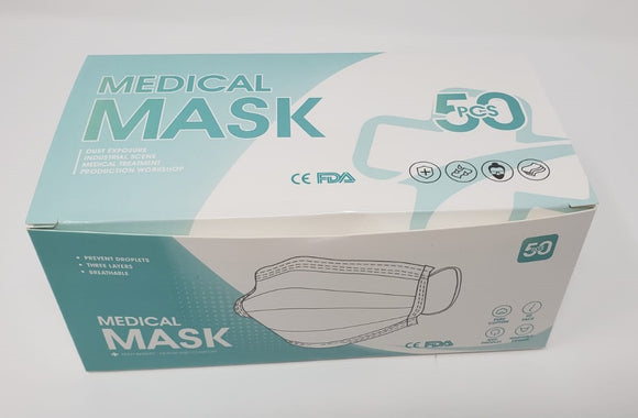 Disposable surgical Face Mask meets ASTM Level 2, 3-ply, Box of 50