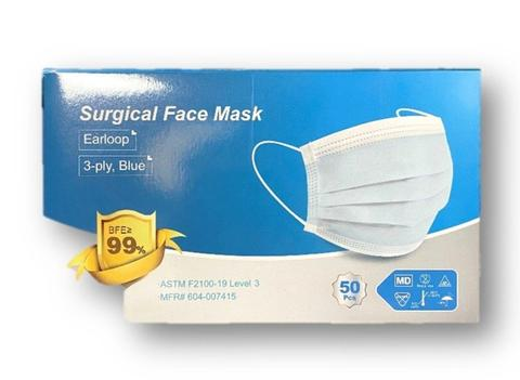 ASTM Level 3 Face Mask, Earloops, blue, 50/box, 20 boxes/cs (boxed)