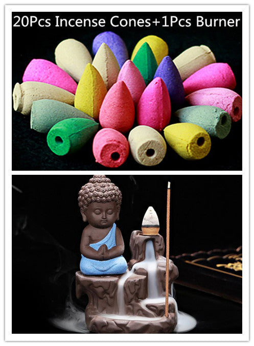 20Pc Incense Cones + Small Buddha Burner - Zen Worlds