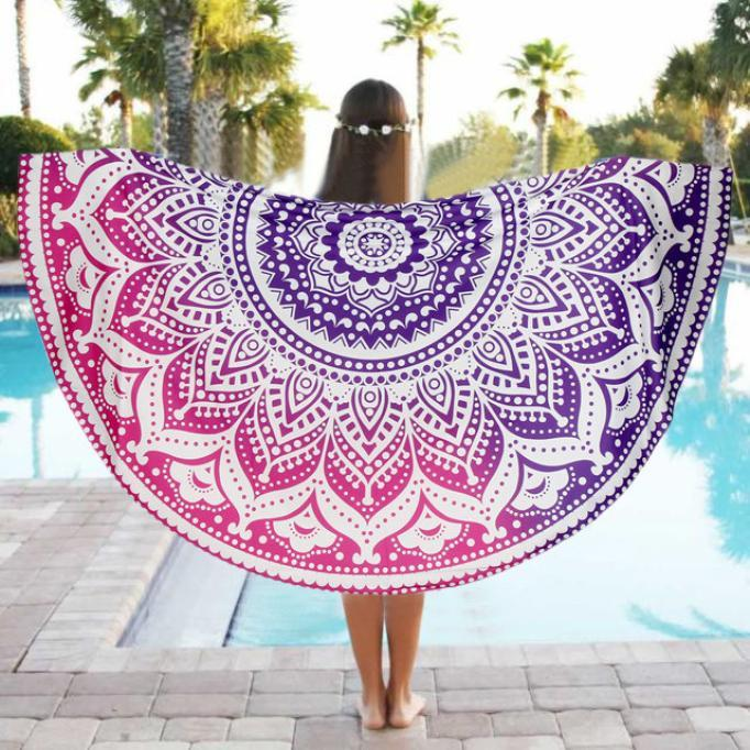Round Beach Pool Home Towel Blanket Table Cloth Yoga Mat - Zen Worlds