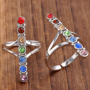 Point Healing Gem Stone Ring 2pcs - Zen Worlds