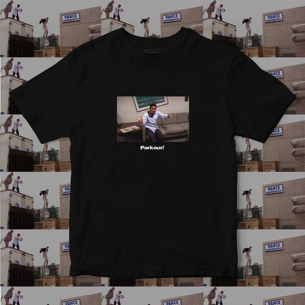 michael scott the office t shirt parkour