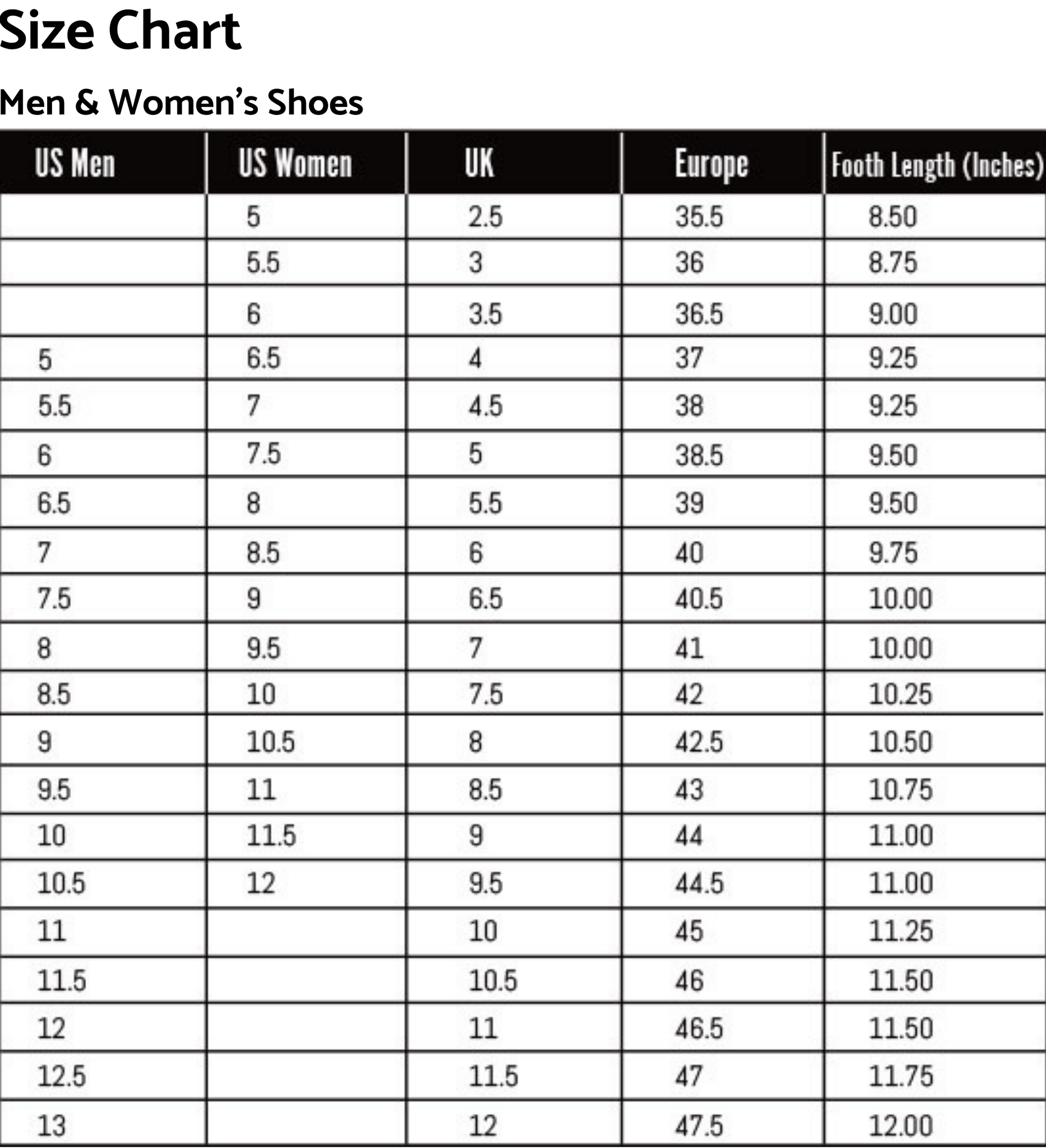 Men and Women's Shoes Size Guide
