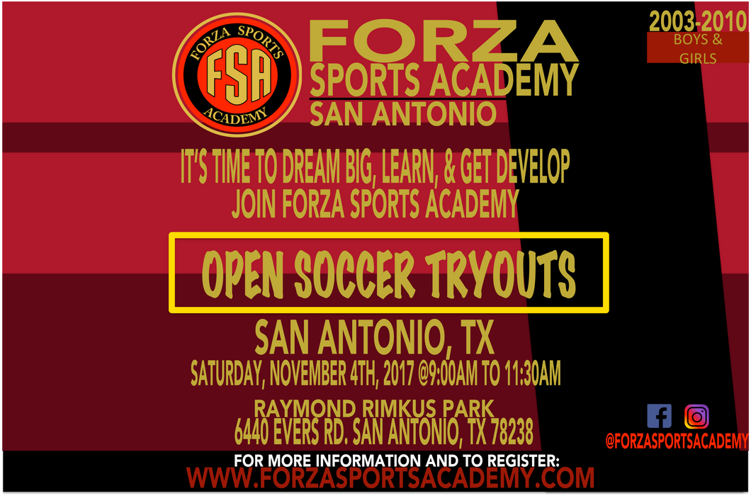 FSA SAN ANTONIO SOCCER TRYOUTS 2017/ 2018 SEASON