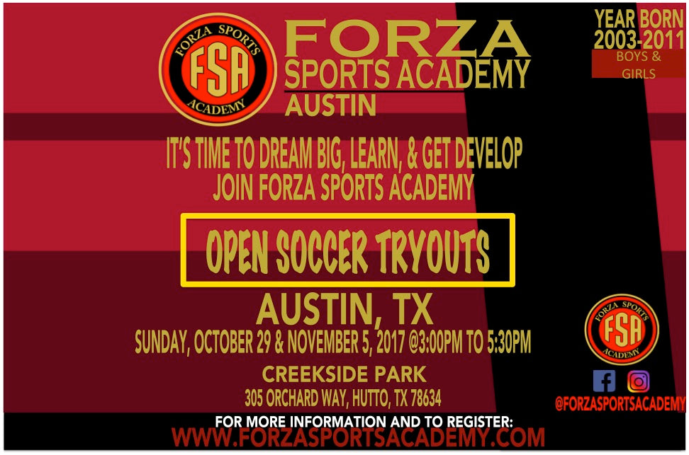 FSA AUSTIN SOCCER TRYOUTS 2017/ 2018 SEASON