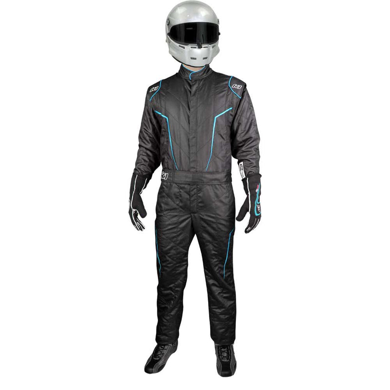 GT2 suit black/flo blue front