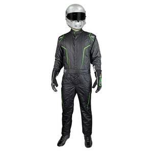 GT2 suit black/flo green front