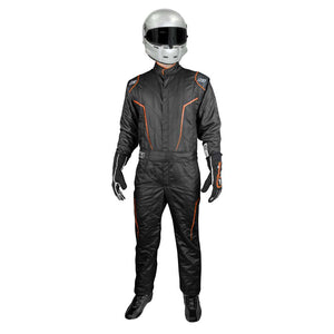 GT2 suit black/flo orange front