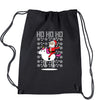 Ho Ho Ho Santa Riding A Unicorn Ugly Christmas Drawstring Backpack