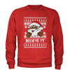 Believe It! Black Santa Claus Ugly Christmas Adult Crewneck Sweatshirt