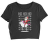 Ho Ho Ho Santa Riding A Unicorn Ugly Christmas Cropped T-Shirt