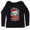 Bah HumPug Ugly Christmas Holiday  Slouchy Off Shoulder Oversized Sweatshirt